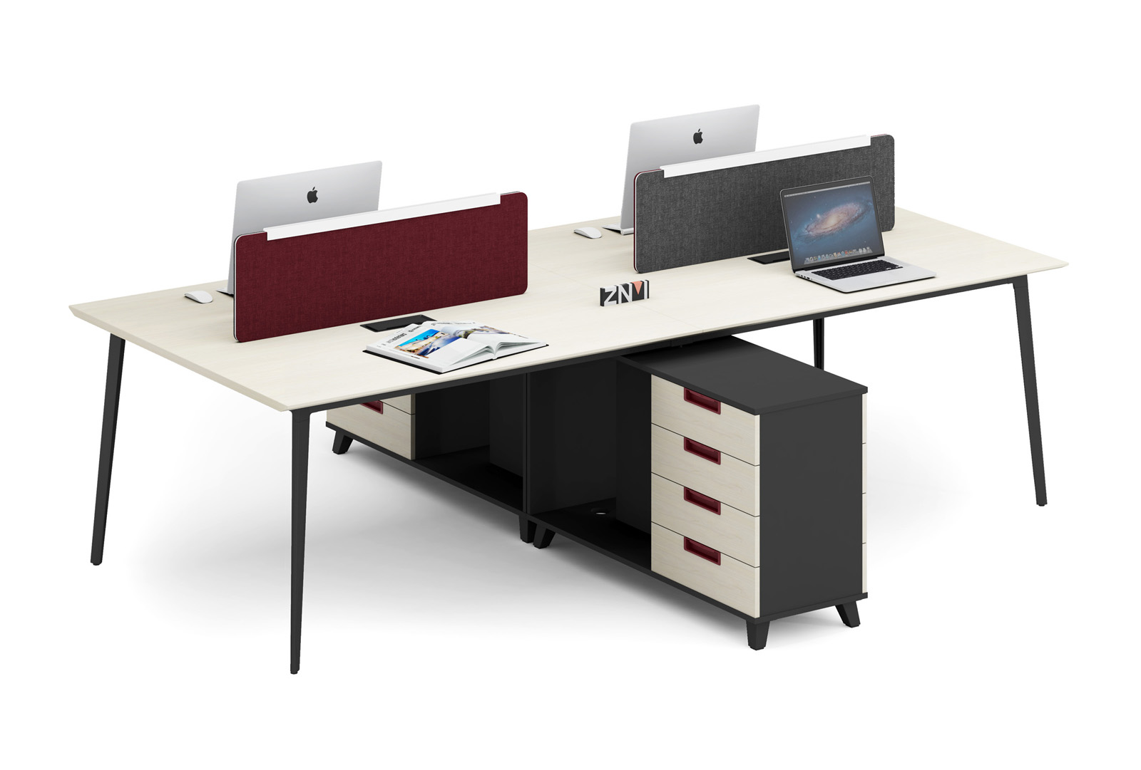 Latest New design 4 person Workstation T-WE2422B with Alluminium alloy leg